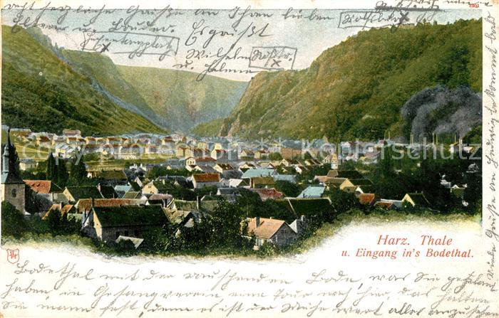 AK / Ansichtskarte Thale_Harz Eingang ins Bodethal Thale_Harz Kat. Thale