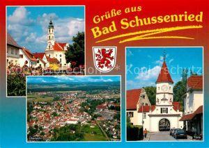 AK / Ansichtskarte Bad_Schussenried Wallfahrtskirche Steinhausen Toerle Wappen Moorheilbad Oberschwaben Fliegeraufnahme Bad_Schussenried Kat. Bad Schussenried