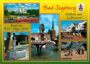 AK / Ansichtskarte Bad_Segeberg Grosser Segeberger See Karl May Bueste Denkmal Marienkirche Brunnen Fussgaengerzone Karl May Spiele Bad_Segeberg Kat. Bad Segeberg