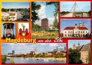 AK / Ansichtskarte Magdeburg Elbufer Promenade Rothehornpark Herrenkrugbruecke Rathaus Magdeburger Reiter Petrifoerder Anlegestelle Weisse Flotte Kathedrale Magdeburg Kat. Magdeburg