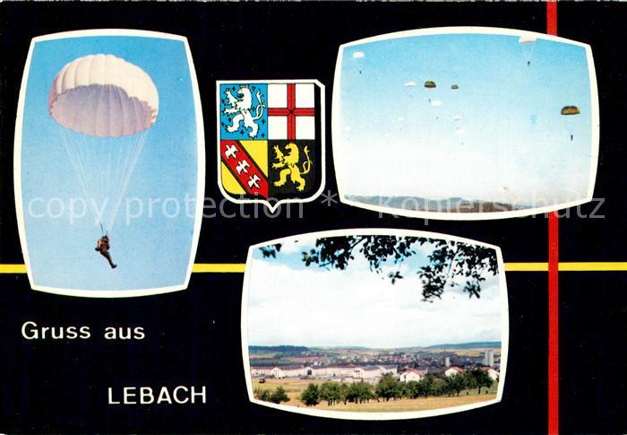 AK / Ansichtskarte Lebach Panorama Fallschirmspringen Wappen Lebach Kat. Lebach