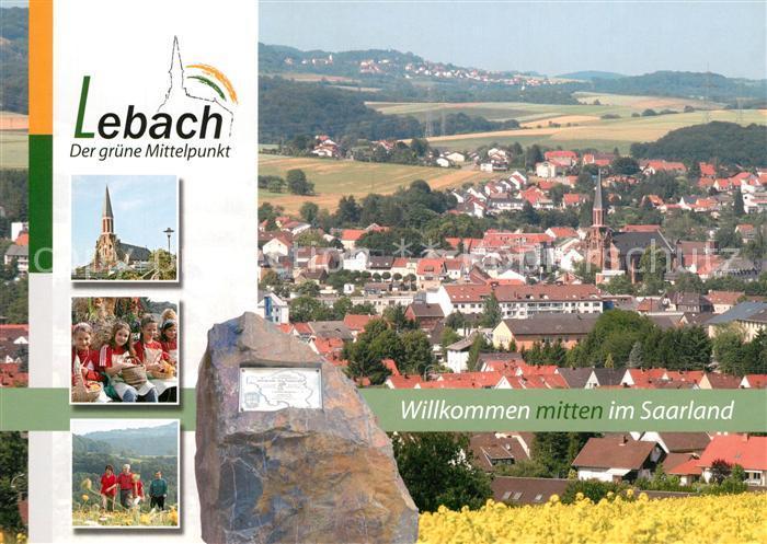 AK / Ansichtskarte Lebach Stadtpanorama Gedenkstein Kirche Wandern Lebach Kat. Lebach