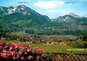 AK / Ansichtskarte Bergen_Chiemgau Gesamtansicht mit Hochfelln und Hochgern Chiemgauer Alpen Bergen Chiemgau Kat. Bergen
