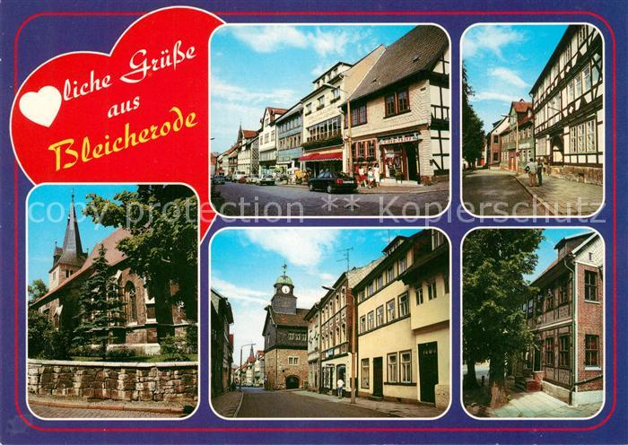 AK / Ansichtskarte Bleicherode Hauptstrasse Neue Strasse Pfarrhaus Marienkirche Rathaus Heimatmuseum Bleicherode Kat. Bleicherode