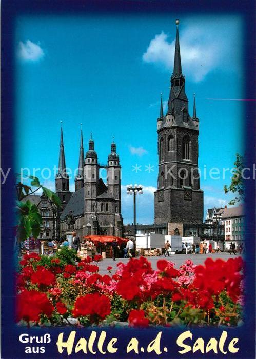 AK / Ansichtskarte Halle_Saale Marktplatz 5 Tuerme Blick Marktkirche Roter Turm Halle_Saale Kat. Halle