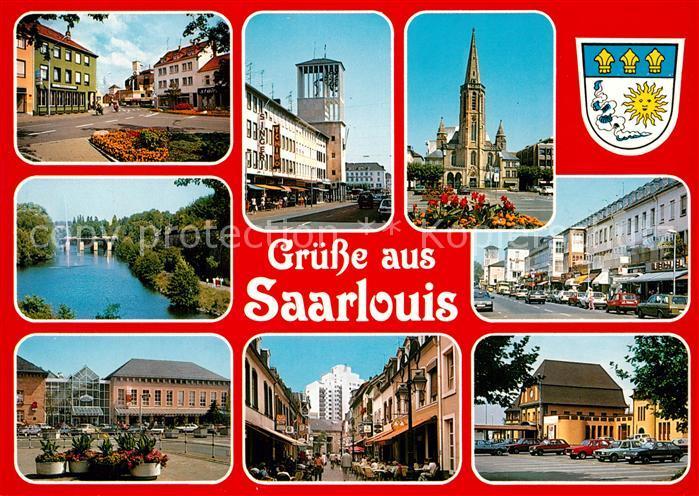 AK / Ansichtskarte Saarlouis Ansichten Innenstadt Rathaus Kirche Fussgaengerzone Partie an der Saar Saarlouis
