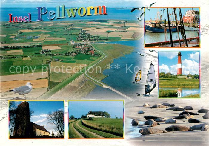 AK / Ansichtskarte Pellworm Fliegeraufnahme Leuchtturm Moewe Pellworm