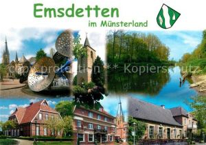 AK / Ansichtskarte Emsdetten Partie an der Ems Kirche Turm Alte Haeuser Emsdetten