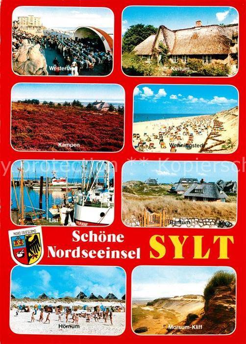 AK / Ansichtskarte Insel_Sylt Ferienorte der Insel Konzertpavillon Reetdachhaus Landschaft Strand Hafen Kliff Insel_Sylt