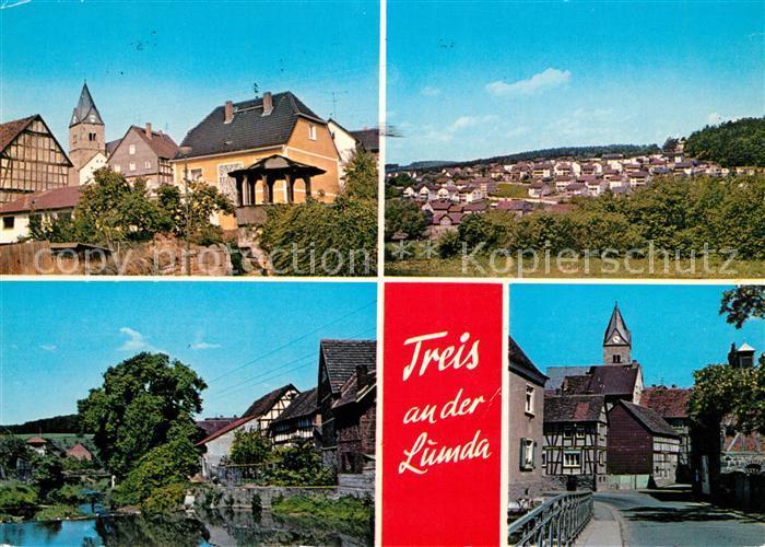 AK / Ansichtskarte Treis_Lumda Ortsansicht mit Kirche Partie am Fluss Panorama Treis Lumda