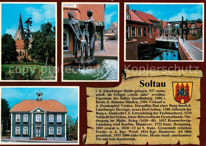 AK / Ansichtskarte Soltau Kirche Brunnen Kanal Rathaus Soltau