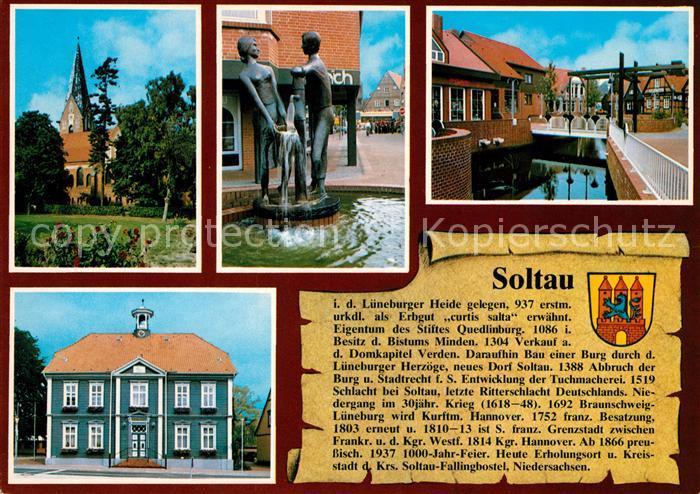 AK / Ansichtskarte Soltau Kirche Brunnen Plastik Rathaus Soltau