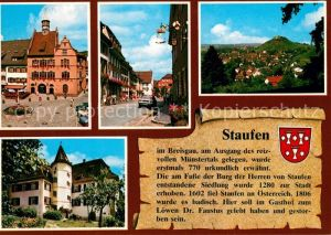 AK / Ansichtskarte Staufen_Breisgau Rathaus mit Marktbrunnen Hauptstrasse Blick auf die Stadt Schloss Staufen Breisgau