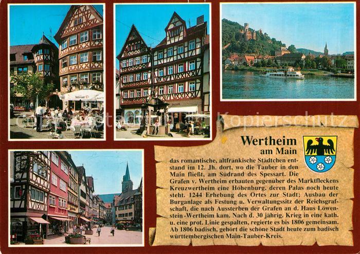 AK / Ansichtskarte Wertheim_Main Hahnsches Haus am Marktplatz Engelsbrunnen Burgblick Marktplatz Wertheim Main