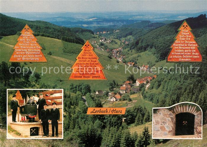 AK / Ansichtskarte Lerbach_Harz Ehem Bergbausiedlung und Eisenhuettendorf Panorama Stolleneingang Lore Lerbach Harz