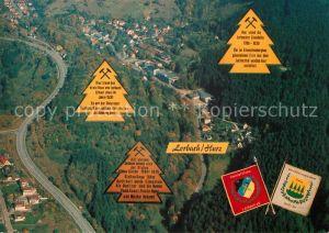 AK / Ansichtskarte Lerbach_Harz Ehem Bergbausiedlung und Eisenhuettendorf Fliegeraufnahme Lerbach Harz