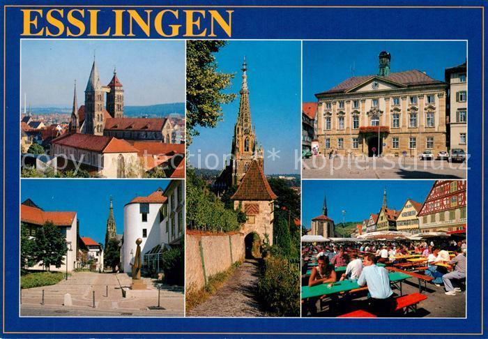 Ak Ansichtskarte Esslingenneckar Stadtkirche Tor Rathaus Schloss