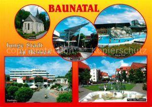 AK / Ansichtskarte Baunatal Kirche Passage Aquapark Stadthalle Platz des Friedens Baunatal