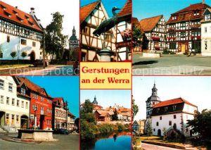 AK / Ansichtskarte Gerstungen Teilansichten Altstadt Historische Gebaeude Fachwerkhaeuser Brunnen Partie an der Werra Gerstungen