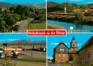 AK / Ansichtskarte Herleshausen Teilansichten Partie an der Werra Lauchroeden Burg Brandenstein ehemalige Grenze Kirche Herleshausen