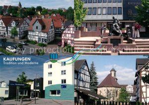 AK / Ansichtskarte Kaufungen_Hessen Rathaus Kirche Schule Fachwerkhaeuser Kaufungen Hessen