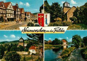 AK / Ansichtskarte Neumorschen Fachwerkhaeuser Kirche Partie an der Fulda Neumorschen