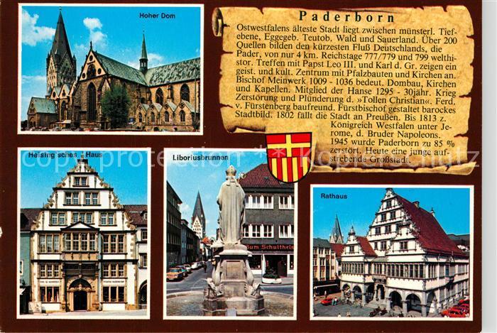 AK / Ansichtskarte Paderborn Hoher Dom Heisingsches Haus Liboriusbrunnen Rathaus Paderborn
