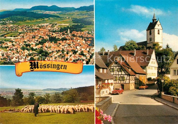 AK / Ansichtskarte Moessingen Fliegeraufnahme Schafherde mit Hirte Kirche Dorfstrasse Moessingen