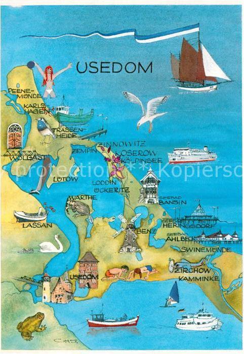 Ak Ansichtskarte Usedom Landkarte Mit Sehenswuerdigkeiten