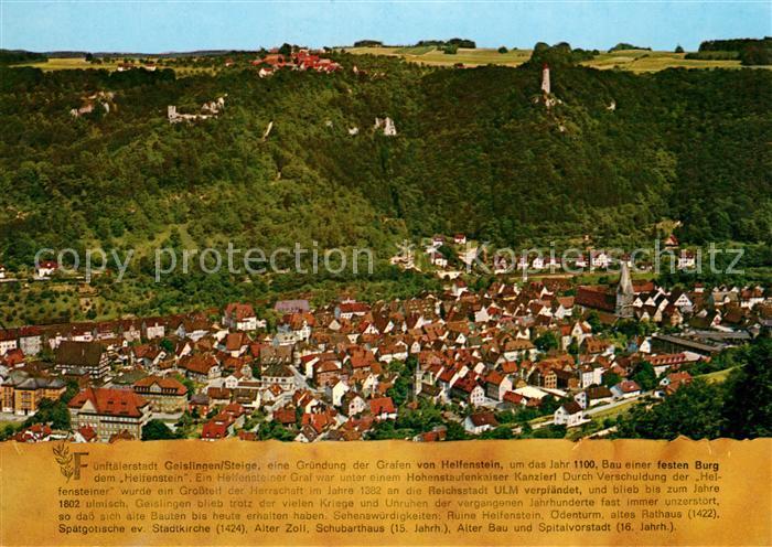 AK / Ansichtskarte Geislingen_Steige Panorama Fuenftaelerstadt Burgen Geislingen_Steige