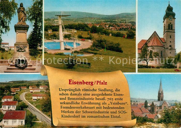 AK / Ansichtskarte Eisenberg_Pfalz Denkmal Freibad Ortsansicht mit Kirche Geschichte Eisenberg Pfalz