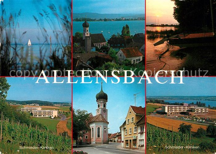 AK / Ansichtskarte Allensbach_Bodensee Seepanorama Schmieder Kliniken Kirche Allensbach_Bodensee 0