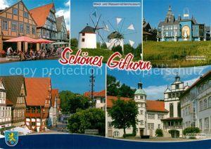 AK / Ansichtskarte Gifhorn Steinweg Strassencafes Windmuehle Wassermuehle Museum Glockenpalast Welfenschloss Gifhorn
