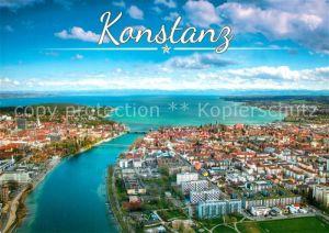 AK / Ansichtskarte Konstanz_Bodensee Blick ueber den Rhein und die Stadt zum Bodensee Alpenkette Fliegeraufnahme Konstanz_Bodensee