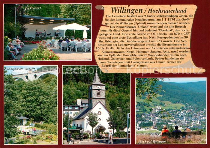 AK / Ansichtskarte Willingen_Sauerland Kurkonzert Minigolf Viadukt Linnenkerl vor ehem Kirche Panorama Willingen_Sauerland