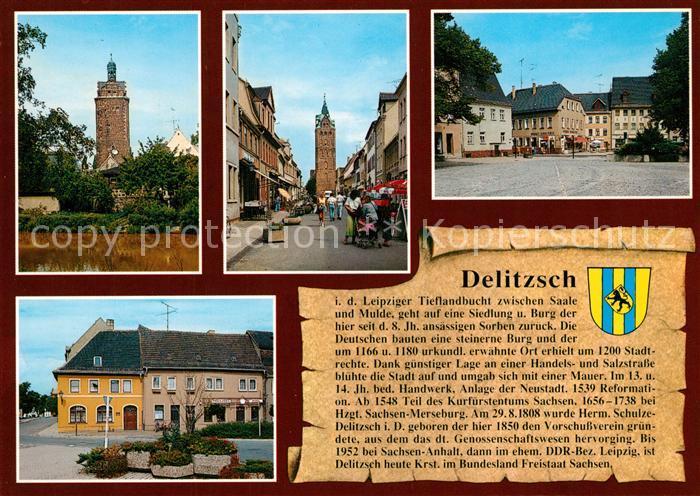 AK / Ansichtskarte Delitzsch hallischer Turm Breite Str und Breiter Turm Markt Rossplatz Delitzsch