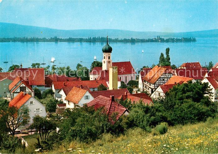 AK / Ansichtskarte Allensbach_Bodensee Ortsblickmit Insel Reichenau Allensbach_Bodensee 0