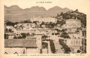 AK / Ansichtskarte Menton_Alpes_Maritimes La gare les hotels et les montagnes de Sainte Agnes Menton_Alpes_Maritimes