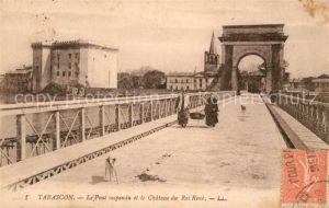 AK / Ansichtskarte Tarascon_Bouches du Rhone Le Pont suspendu et le Chateau du Roi Rene Tarascon Bouches du Rhone