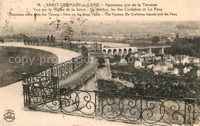 AK / Ansichtskarte Saint Germain en Laye Panorama pris de la Terrasse Le Viaduc les Iles Corbieres et Le Pecq Saint Germain en Laye