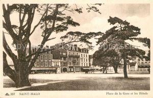 AK / Ansichtskarte Saint Malo_Ille et Vilaine_Bretagne Place de la Gare et les Hotels Saint Malo_Ille et Vilaine