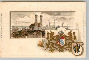 AK / Ansichtskarte Muenchen Stadtbild mit Frauenkirche Wappen Krone Muenchen
