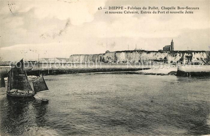 AK / Ansichtskarte Dieppe_Seine Maritime Falaises du Pollet Chapelle Bon Secours et nouveau Calvaire Entree du Port et nouvelle Jetee Dieppe Seine Maritime