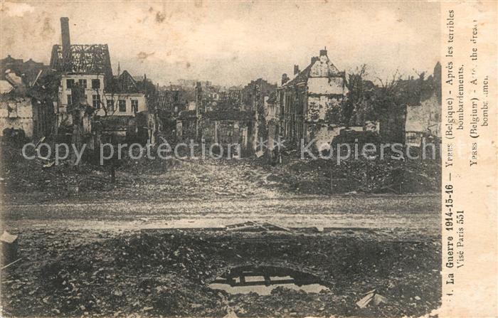 AK / Ansichtskarte Ypres_Ypern_West_Vlaanderen Apres le bombardement Grande Guerre Truemmer 1. Weltkrieg Ypres_Ypern