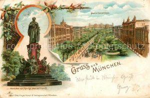 AK / Ansichtskarte Muenchen Denkmal Koenig Maximilian II Maximilanstrasse Litho Muenchen