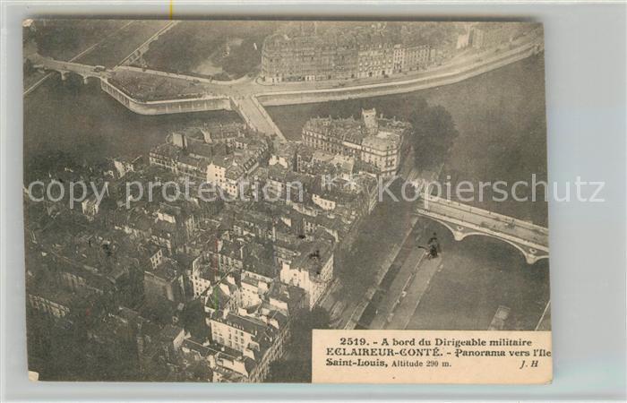 AK / Ansichtskarte Paris Ile Saint Louis vue du bord du dirigeable militaire Eclaireur Conte Ballon Paris
