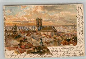 AK / Ansichtskarte Muenchen Stadtbild mit Frauenkirche Litho Muenchen