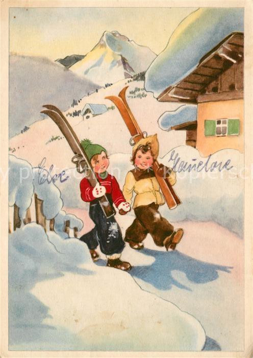 AK / Ansichtskarte Skifahren Kinder  Skifahren