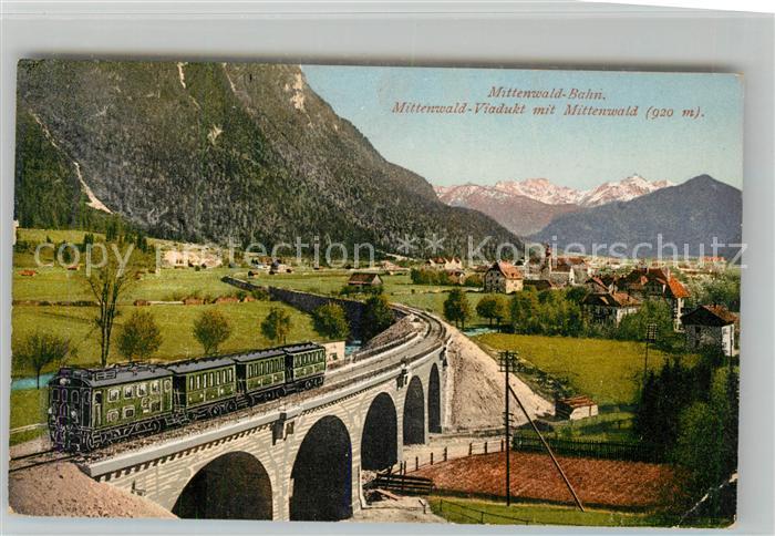 AK / Ansichtskarte Eisenbahn Mittenwaldbahn Viadukt Mittenwald Eisenbahn
