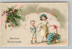 AK / Ansichtskarte Neujahr Kinder Vergissmeinnicht Litho  Neujahr